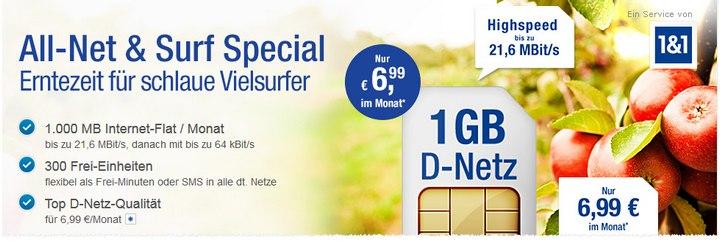 1GB, 300 Einheiten für 6,99 Euro: Der 1&1 / GMX.DE-Tarif eignet sich auch als günstiger iPhone-Vertrag