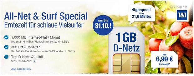 1&1 Tarif für 6,99 Euro
