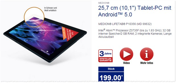 ALDI Tablet im Angebot: Medion Lifetab P10356