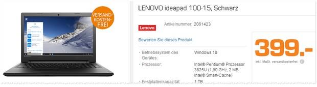 Lenovo Notebook bei Saturn für 399 €