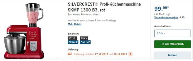 Silvercrest Küchenmaschine SKMP 1300 B3