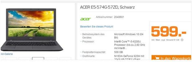 Acer E5-574G-57ZD Notebook aus der Saturn-Werbung für 599 €