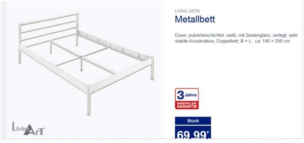 Living Art Metallbett Aldi Nord Angebot Ab 2112015