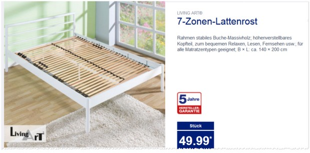 living art 7 zonen lattenrost aldi nord angebot. Black Bedroom Furniture Sets. Home Design Ideas
