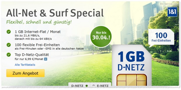 Allnet & Surf Special von Anbieter 1und1