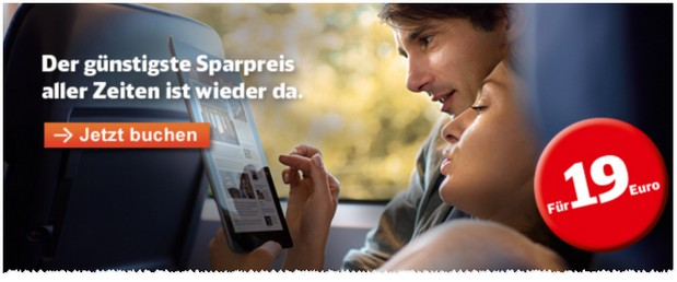 Bahn Sparpreis-Ticket-Aktion ab 19 Euro