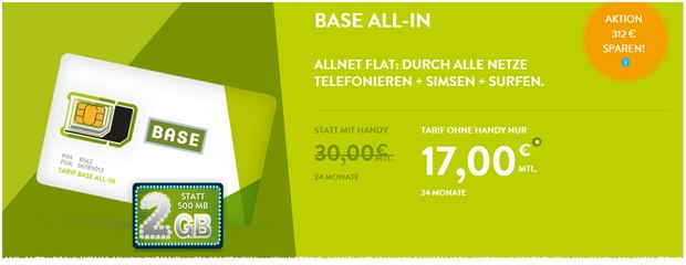 BASE Allnet-Flat all-in für 17 Euro