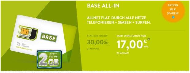 BASE Allnet-Flat all-in für 17 Euro
