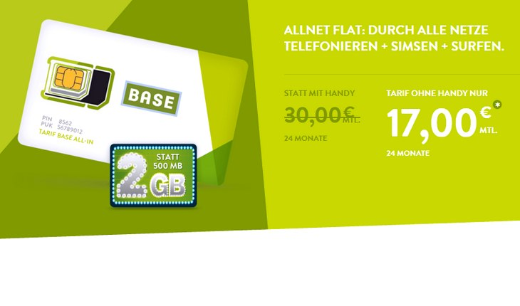 BASE Allnet-Flat für 17 €