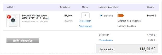 Bomann Abluft-Trocker WT 5019 aus der Roller-Werbung für 149 € + 29 € Versand bei Online-Bestellung