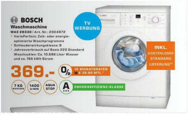 Neuer Prospekt: Bosch Waschmaschine WAE 28330 aus der Saturn-Werbung für 369 €