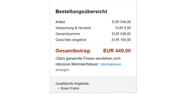 Bose Promo Code bei Amazon