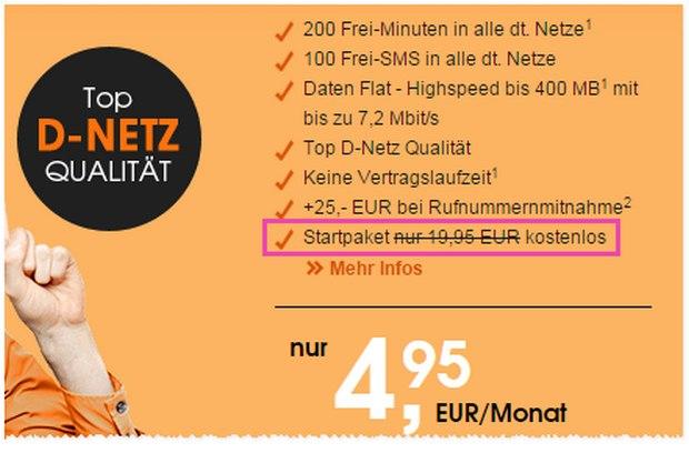 callmobile SIM-Karte gratis: Die Anschlussgebühr von 19,95 € entfällt für kurze Zeit