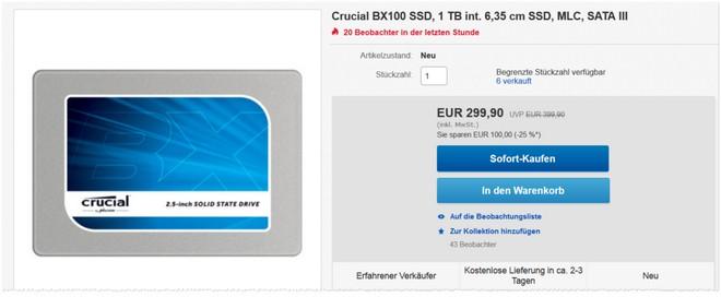 Crucial BX100 SSD Festplatte