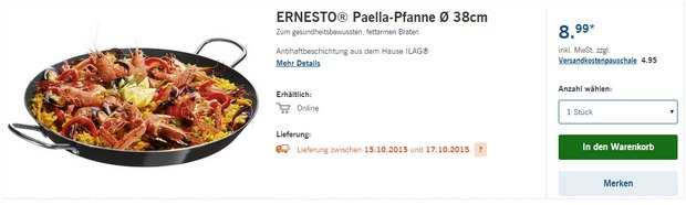 ernesto paella pfanne als lidl angebot. Black Bedroom Furniture Sets. Home Design Ideas