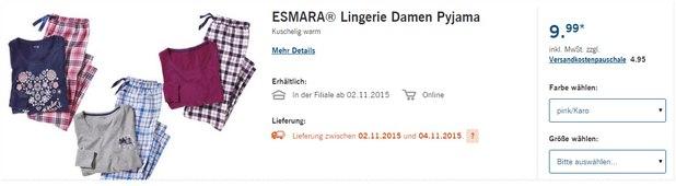 Esmara Damen-Pyjama als LIDL-Angebot ab 2.11.2015 - auch für Babys, Kleinkinder sowie Jungs und Mädels ist gesorgt (ab 4,99 €)
