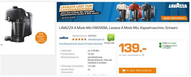 Lavazza A Modo Mio FANTASIA von AEG für 59 € bei Saturn durch Sofort-Cashback