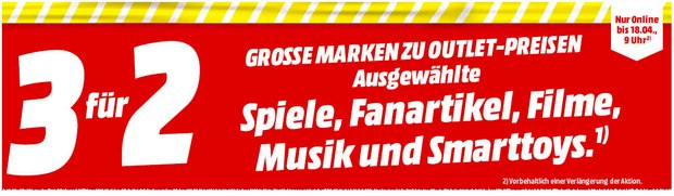 Media Markt 3-für-2-Aktion im Media Markt Outlet bis 18.4.2016