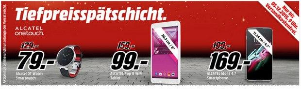 Media Markt Tiefpreisspätschicht mit Alcatel Smartphone, Smartwatch & Tablets