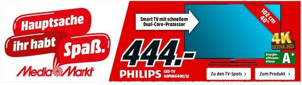 Ultra-HD-Fernseher (4K) Philips 40PUK6400 für 444 €