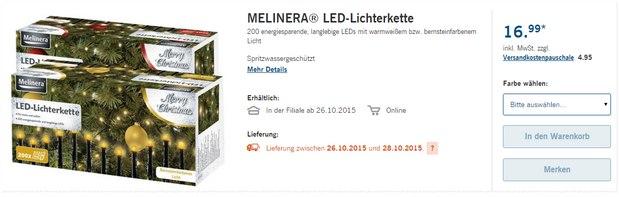 Melinera LED-Lichterkette als LIDL-Angebot ab 26.10.2015 für 16,99 €