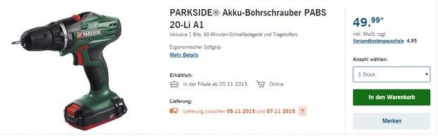 Parkside Akku-Bohrschrauber als LIDL-Angebot ab 5.11.2015 für 49,99 €