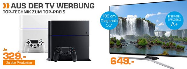 PlayStation 4 aus der Saturn-Werbung für 329 Euro - übers Saturn-Outlet könnte es aber bis 21.10.2015 noch günstiger sein