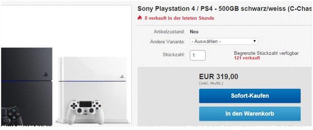 PlayStation 4 Angebot bei eBay in Schwarz oder Weiß für 319 €