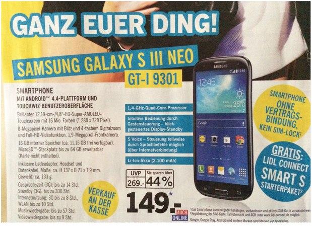 Samsung Galaxy S3 Neo als LIDL-Angebot ab 3.12.2015 für 149 €