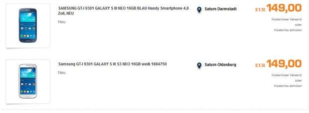 Samsung Galaxy S3 Neo ohne Vertrag im Saturn-Outlet 10% günstiger - weil dort auch auf 149 € reduziert wurde und es noch einen 10% Gutschein gibt