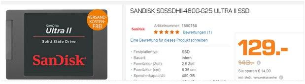 SanDisk SSD-Festplatte Ultra 2 HD als Saturn-Angebot ab 14.12.2015 für 129 €