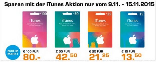 Saturn mit iTunes Karten-Rabatt ab 9.11.2015