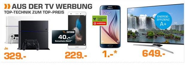 Saturn Montagsangebote am 26.10.2015: Huawei P8 Lite und Samsung Galaxy S6 Handyvertrag