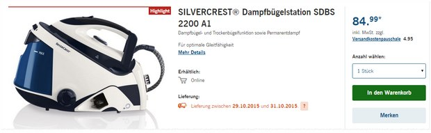 Silvercrest Dampfbügelstation SDBS 2200 A1 als LIDL-Angebot ab 29.10.2015
