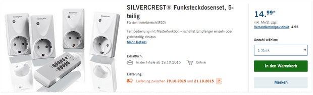 Silvercrest Funksteckdosen-Set als LIDL-Angebot ab 19.10.2015 für 14,99 €