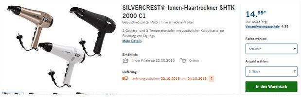 LIDL Haartrockner SHTK 2000 C1 als LIDL-Angebot ab 22.10.2015