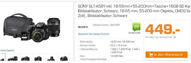 Sony SLT A58Y Kamera aus der Saturn-Werbung für 449 €
