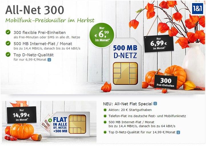 WEB.DE Handyvertrag All-Net 300 und Allnet-Flat für 6,99 € bzw. 14,99 € - neu seit 1.11.2015