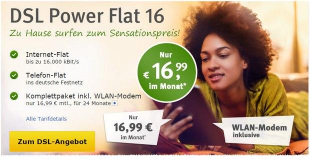 Günstige 1&1 DSL-Internet-Flat WEB.DE Power-Flat 16 für 16,99 €