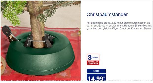 Aldi Nord Christbaumständer ab 26.11.2015 im Angebot