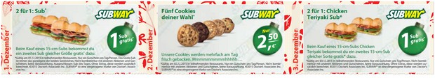 Subway Coupons im Adventskalender zum Download