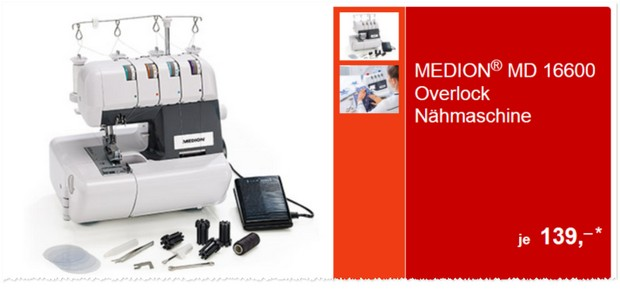 ALDI Overlock Nähmaschine Medion MD 16600