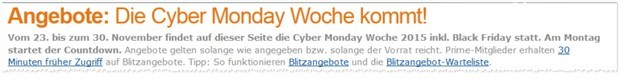 Amazon Cyber Monday Woche 2015