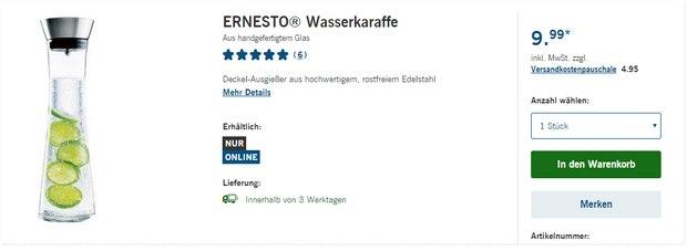 Ernesto Wasserkaraffe als LIDL-Angebot ab 11.2.2016 für 9,99 €