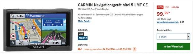 """Garmin nüvi 5 als LIDL-Angebot ab 4.5.2016 für 99,99 € - 5"""" Navi mit lebenslangen Kartenupdates"""