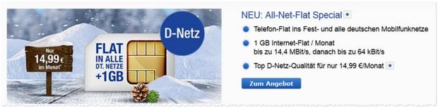 GMX Allnet-Flat Special Tarif mit 1 GB Daten-Flat