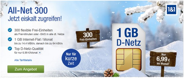 GMX.DE Handyvertrag mit 1 GB Daten-Flat