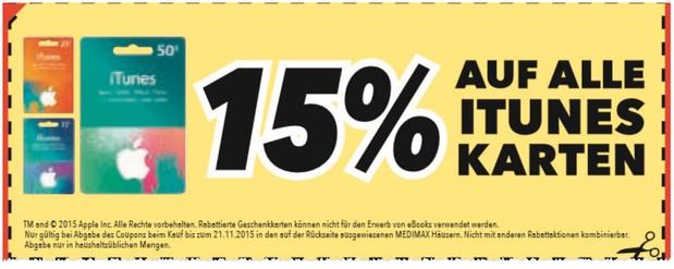 iTunes Rabatt Aktion: 15% günstigere Karten bei Medimax