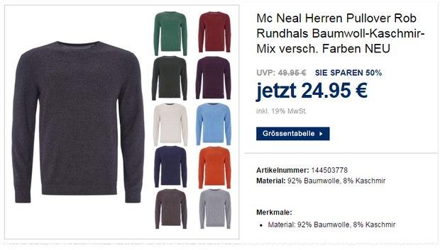 McNeal Herren-Pullover aus Kaschmir und Baumwolle