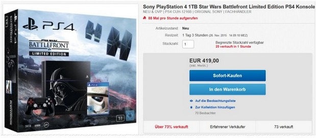 PlayStation 4 als Star Wars Battlefront Limited Edition